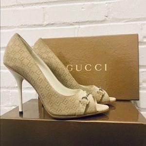 Gucci GG Guccissima Horsebit Peep Toe Pumps
